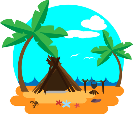 Shack of branches on the beach near the sea Ilustracja