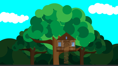 Colorful Illustration with Childrens Treehouse on a Tree Illustration