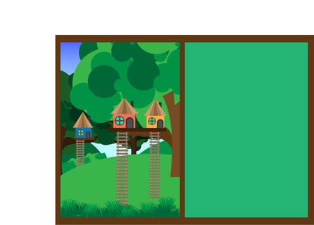 Tree house. House on tree for kids. Flat style vector illustration. Illustration