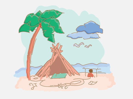 Shack of branches on the beach near the sea Illustration