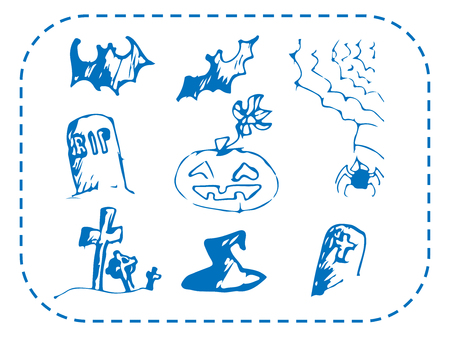 Halloween painted by hand on a sheet. Vector illustration. Set Illustration