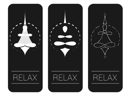 Meditation or yoga. Vector illustration, icon or symbol of a meditator in the lotus position.
