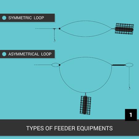 Feeder installations. Equipment for feeder fishing. Tables or visual material. Vector illustration. EPS10