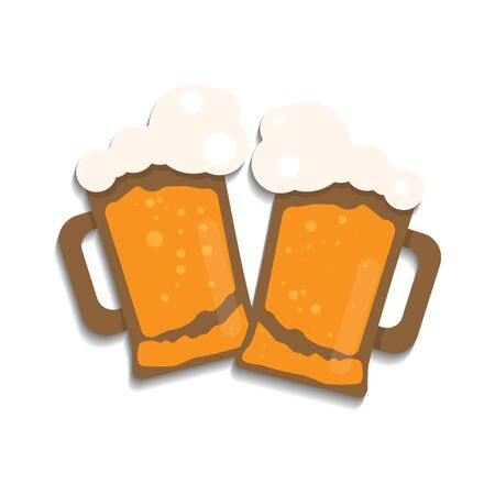 Two glasses of beer. Celebration with choking. Cartoon illustration. Flat style.