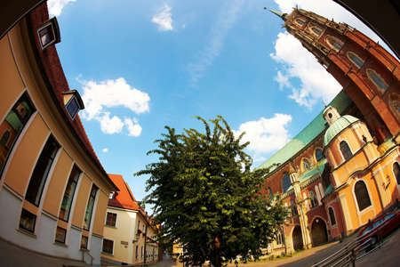Monuments in Wroclaw, Poland (fisheye perspective) photo