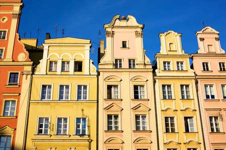 dolnoslaskie: Historic tenements in Wroclaw Poland Stock Photo