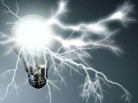 rayo electrico: Bombilla Foto de archivo