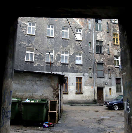 shantytown: Decrepit, stinky building in Wroclaw, Poland Stock Photo