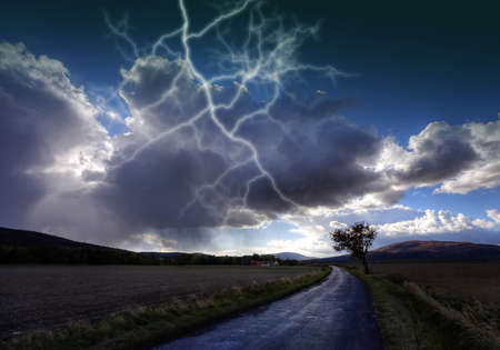 Storm brewing over landscape photo