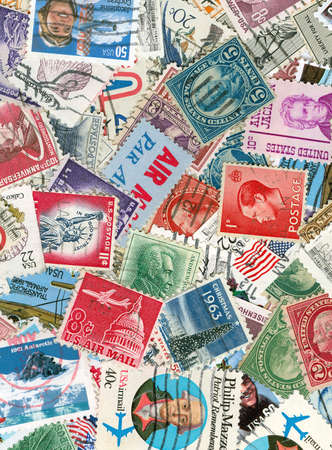 stamps: Collection of US vintage postmarks Stock Photo