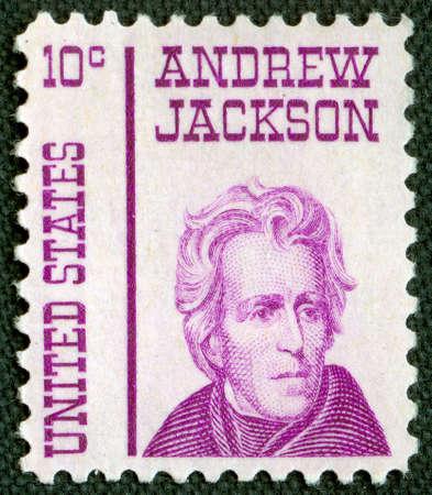 poststempel: Andrew Jackson bei U.S. Vintage Poststempel Lizenzfreie Bilder