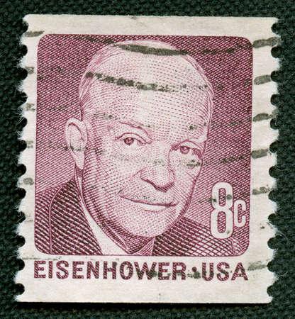 poststempel: Eisenhower US-Vintage-Poststempel Lizenzfreie Bilder