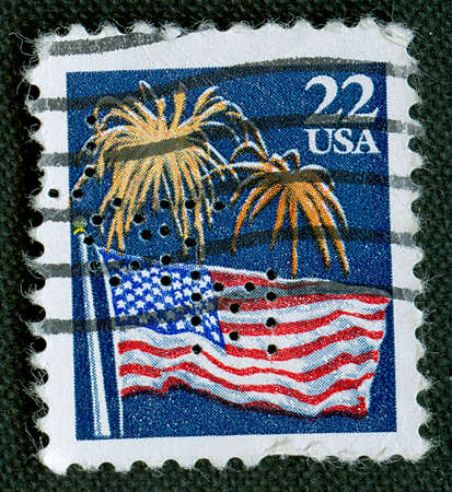 Independence Day on US vintage stamp Stock Photo - 5238320
