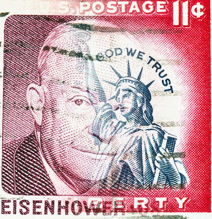eisenhower: Statue of Liberty on US vintage postmark with president Eisenhower