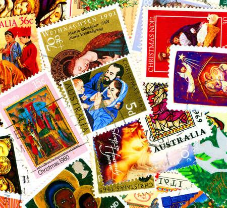 Christian motives on vintage postmarks photo