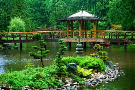 ponte giapponese: Giardino giapponese Archivio Fotografico
