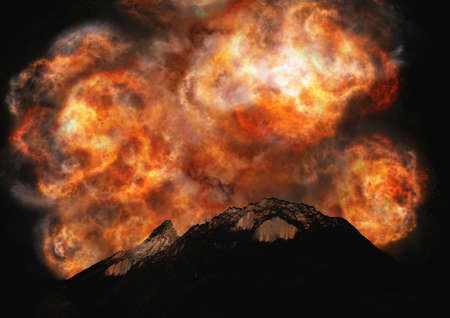 Young volcano being born photo