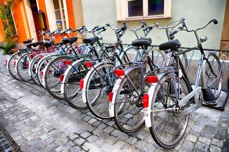 urban rentable bike in parking Banco de Imagens