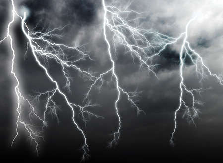 thunderstorms: Stormy clouds with lightnings Stock Photo