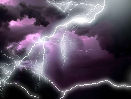 3d lightning: Stormy clouds with lightnings Stock Photo