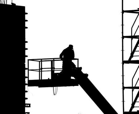 Worker  pouring cement photo