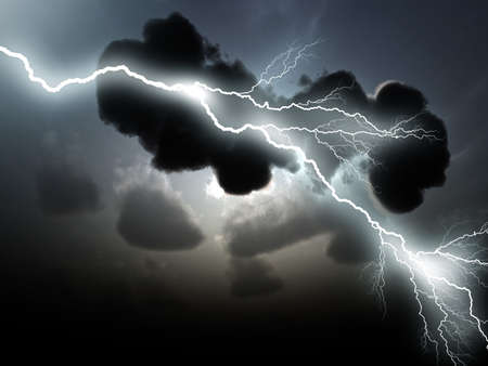 thundercloud: Stormy clouds with lightnings Stock Photo