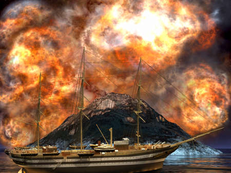 ancient ships: Young volcano being born
