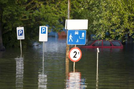dolnoslaskie: Flooded street in the city Stock Photo