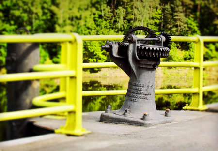 hydroelectricity: Historic mechanism 100 years old on a dam in Pilichowice, Poland