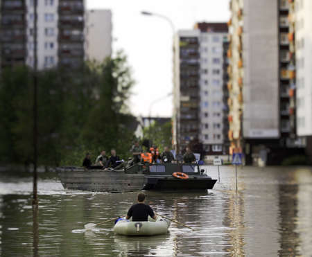 Flood in the city photo