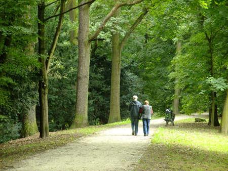 parejas caminando: Parque en tiempo de primavera