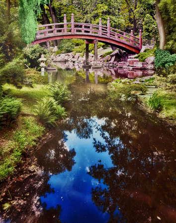 Park in spring time - japanese garden photo