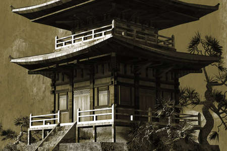 antiqued: Buddhist Zen Temple -antiqued textured