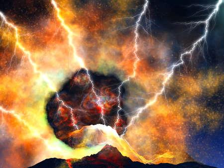 uitbarsting: Jonge vulkaan wedergeboorte  Stockfoto