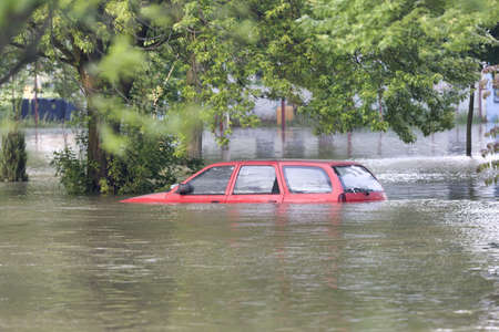 catastrophe: Rue inond�e Banque d'images