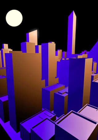 lonesome: Cityscape at night Stock Photo