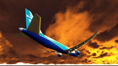 strips away: Passenger plane is landing during spectacular evening