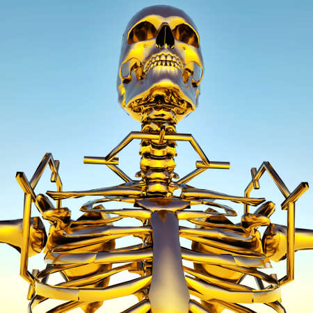 Golden human skeleton photo