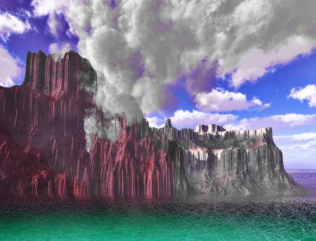 dormant: Volcanic eruption on island