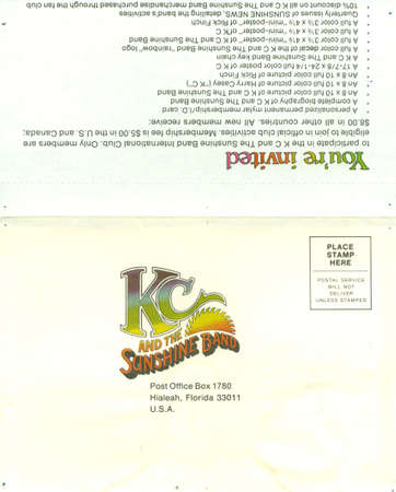 USA, CIRCA 1976: Official invitation to join the Sunshine band international club, circa 1976 Stock fotó