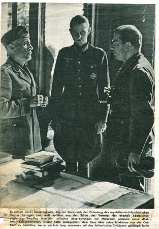 adolf: GERMANY, CIRCA 1943: Mussolini shown on a propaganda Nazi Die Wehrmacht, circa 1943