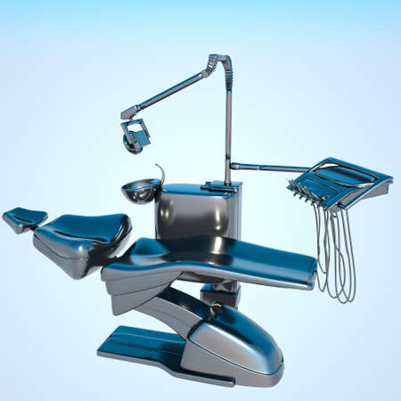 medical cabinet: Silver dental chair