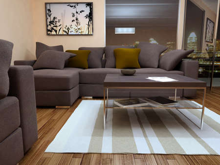 modern bright living room with sofa  photo