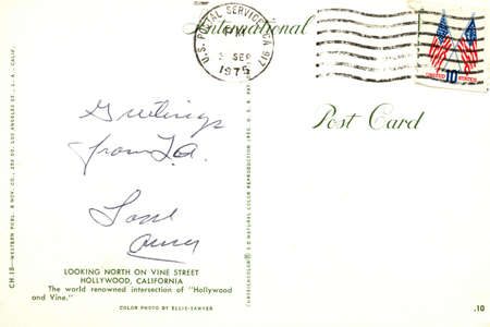 USA - CIRCA 1975. Reverse side of an old postal card with   postage stamp and handrwriting. Circa 1975 photo