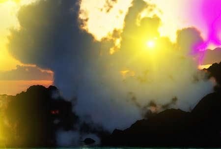 eruptive: Volcanic eruption with   lightning