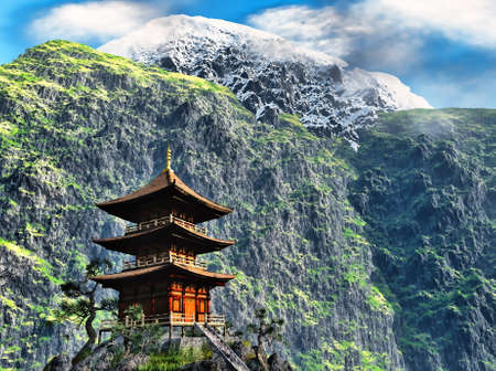 chinese pagoda: Buddhist temple in mountains
