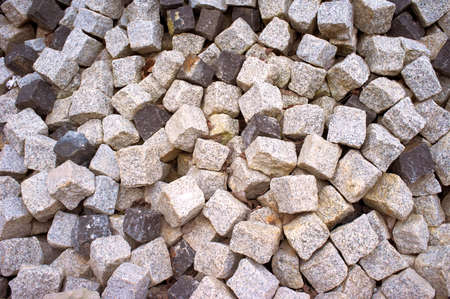 large heap of stacked cobbles  photo