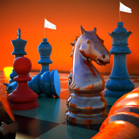defeat: Chess battle -white flag defeat Stock Photo