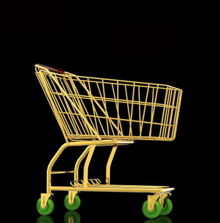 Gold shopping cart Stock Photo - 10951895