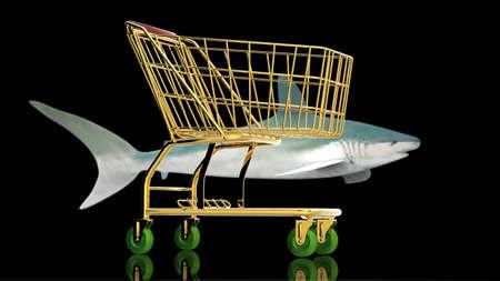 Shopping cart foe a shark buyer photo